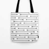 arrows Tote Bags featuring Arrows  by Paint Me Pink