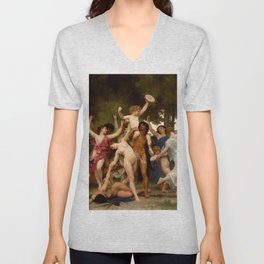 "William-Adolphe Bouguereau ""The Youth of Bacchus"" Unisex V-Neck"