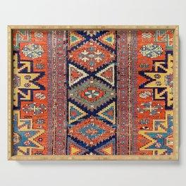 Southwestern Farmhouse II // 19th Century Colorful Red Yellow Blue Green Aztec Farm Stars Pattern Serving Tray
