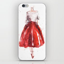 Red skirt / red lips iPhone Skin