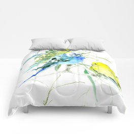 Parakeets green yellow blue bird decor Comforters