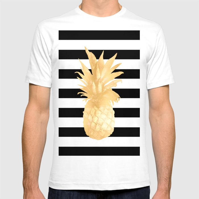 d603ce7c2d0b Gold Pineapple Black and White Stripes T-shirt by naturemagick ...
