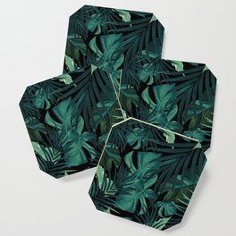 Tropical Jungle Night Leaves Pattern #1 #tropical #decor #art #society6 Coaster