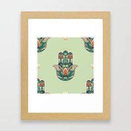 Hamsa Hand Pattern Framed Art Print