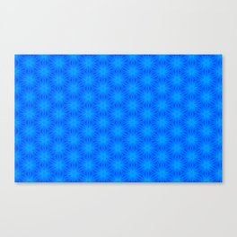 Bright blue on blue star pattern design Canvas Print
