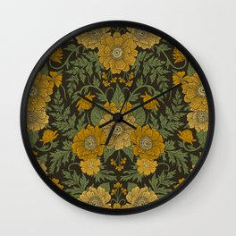 Dark Fall/Winter Floral in Yellow & Green Wall Clock
