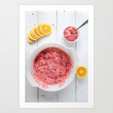 Wineberry salad with sliced oranges Art Print