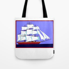 A Clipper Ship Full Sail in Still Waters Tote Bag