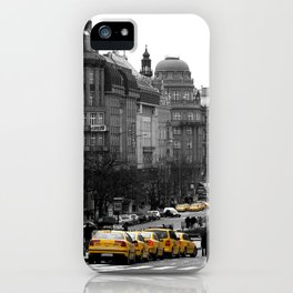 Taxis in Wenceslas Square  iPhone Case