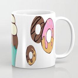 Donuts and a Cupcake White Background Coffee Mug