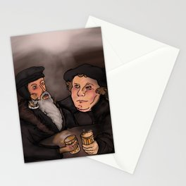 John Calvin and Martin Luther, Pub Theology Stationery Cards
