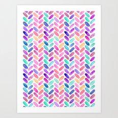 Rainbow Herringbone Watercolor Oblongs Art Print