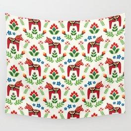 Swedish Dala Horses Red Wall Tapestry