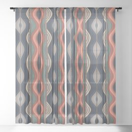 Colored waves Sheer Curtain
