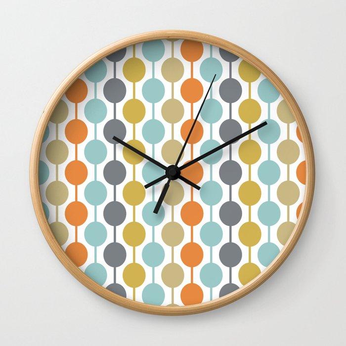 Retro Circles Mid Century Modern Background Wall Clock