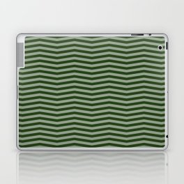 Dark Forest Green Chevron Zigzag Stripes Laptop & iPad Skin