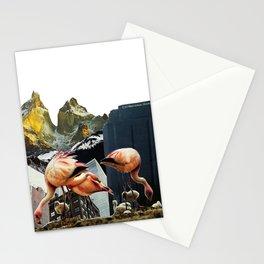 Flamingos In a Mountainous Metropolis Stationery Cards