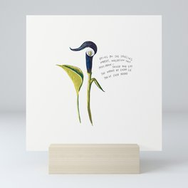 Bring on the Dancing Horses Navy Blue Floral Illustration Lyric Mini Art Print