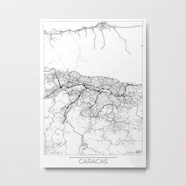 Caracas Map White Metal Print