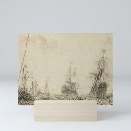 Ships near a Harbor, Experiens Sillemans, 1649 Mini Art Print