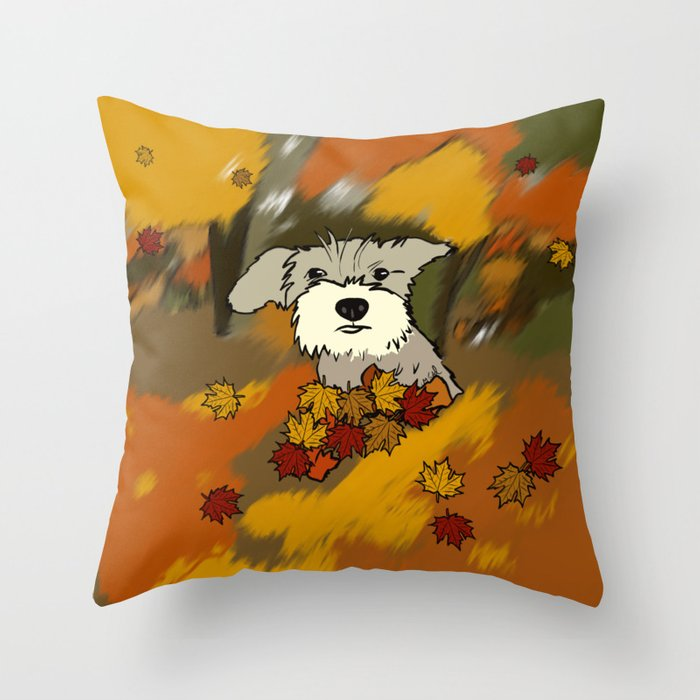 Schnauzer In Fall Leaves Throw Pillow