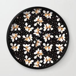 White And Orange Flowers On Black Wall Clock