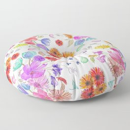 Loose Wild Flowers in Watercolor and Ink Floor Pillow