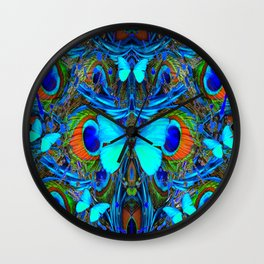 ELECTRIC NEON BLUE BUTTERFLIES & BLUE PEACOCK FEATHERS Wall Clock