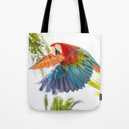 Colorful macaw flying Tote Bag