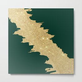 Stylish forest green gold glitter abstract brushstrokes Metal Print
