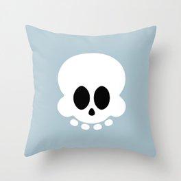 Skully light blue version Throw Pillow