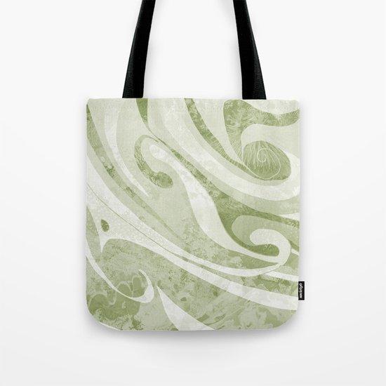Abstract Green Waves Design Tote Bag