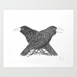"TWO CROWS [Two friends discuss urgent matters of the day, such as ""What shall we eat?""] Art Print"