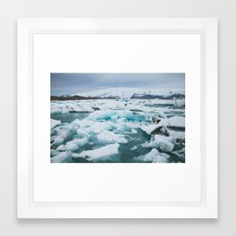Glow from a Glacial Lagoon Framed Art Print