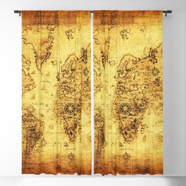 Arty Vintage Old World Map Blackout Curtain