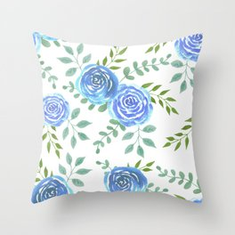 Blue roses or rosa symbolise secret or unattainable love Throw Pillow