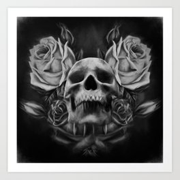 Skull And Rose's 5 BW Art Print