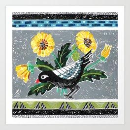 Bird & Dandelions Art Print
