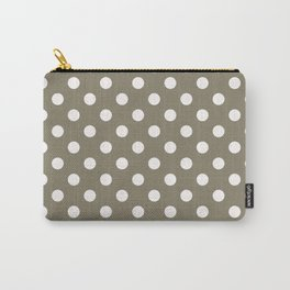 Taupe Brown & White Polka Dots Carry-All Pouch