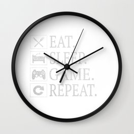 Funny Eat Sleep Game Repeat Gift for Video Games Lover Gifts Wall Clock