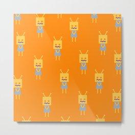 Shy Little Robot (orange) Metal Print