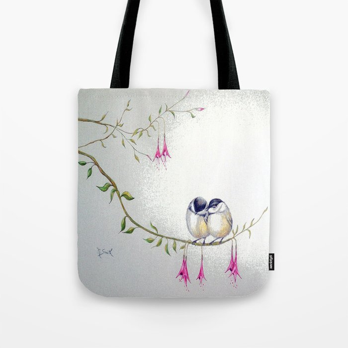 Two Chickadees Tote Bag