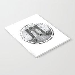 Brooklyn Bridge New York City (black & white badge emblem) Notebook