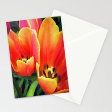 Coral Tulips in Bloom Stationery Cards