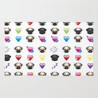 emoji Area & Throw Rugs featuring Emoji Pug  by Huebucket