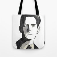 twin peaks Tote Bags featuring twin peaks by sharon