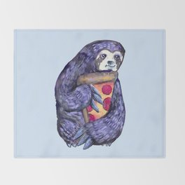 purple sloth loves pizza Throw Blanket