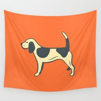 beagle Wall Tapestries featuring Orange Beagle by Make Deux