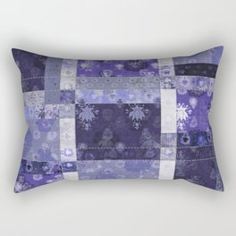 Lotus flower blue stitched patchwork - woodblock print style pattern Rectangular Pillow