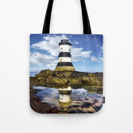 Penmon Lighthouse Painting Tote Bag